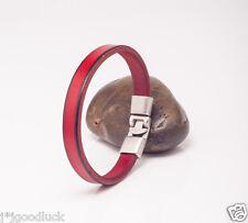 Men Women Single Band Genuine Leather Bracelet Wristband Men's Cuff DARK RED