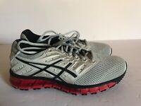 ASICS Mens Gel-Quantum 180 2 MX Running Shoe - Grey/Phantom/Fiery Red - Size 7