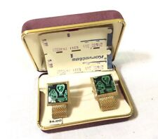 Vintage NOS Hickok Cuff Links Original Case Milanese Loop Green Gold
