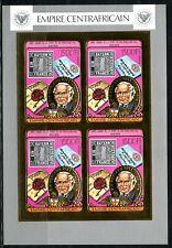 Centre Afrique Rowland HILL 1978 Stamp Gold Foil Or MICHEL 598 B 140e