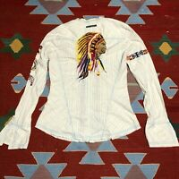 3J workshop Johnny Was Native American Embroidered Shirt Indian Head Small Flare