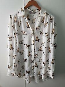 TU Ladies Chiffon Blouse Shirt Hound Dog Print Size 20 Quirky Country