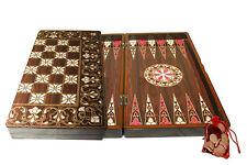"Yenigun Turkish Backgammon SeaShell Design Game Case, Wooden Board 15"""