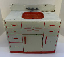 Vintage, Tin Toy Kitchen Sink and Cabinet