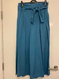 Zara Blue Paper Bag Wide Leg Trousers with Belt Size L BNWT