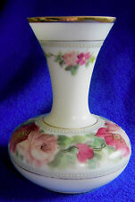 "Vintage White Glass Vase Handpainted Roses, Gold Trim, Beading 9 1/2"" Milkglass"