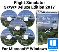 Flight Simulator 2017 X Edition Gear Sim Windows 10 8 7 PC/Mac 5 DVDs X DELUXE