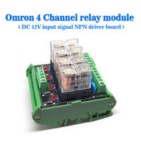 Omron 4 Relay Socket 4 Panels Driver Board Module DC 12V Input Signal NPN