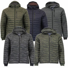 Mens Camo Jacket Threadbare Coat Padded Quilted Hoodie Military Lined Winter New