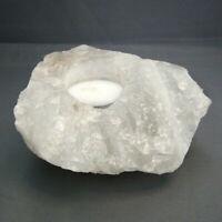 Clear Quartz Candle Holder Tea Light Large Natural Raw Unpolished 13cm 1093g
