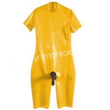 100%Latex Rubber Yellow Catsuit Short-sleeve Suit with Black Sheath Size XXS-XXL