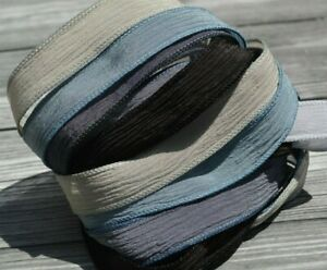 SILVER LAKE Crinkle Silk Ribbons Assortment Hand Dyed Assorted Grays and Blue