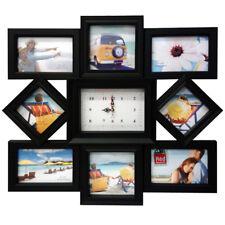 Noir Moderne Multi Photo Horloge Cadre Love Family Friends Mural Photo Album