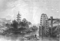 China CHINESE BAMBOO WATER WHEEL PUMP FARM IRRIGATION ~ 1842 Art Print Engraving
