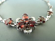 100% 925 Sterling silver Bracelet. Natural Ruby quality stones. Aussie Seller