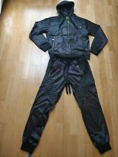 """Black shiny leather gloss effect """"RAW BLUE"""" tracksuit. Size S"""