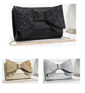 Womens Glitter Encrusted Bow Clutch Handbag Crossbody Wedding Prom Shoulder Bag