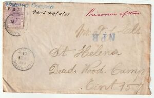 1901 HEILBRON CDS & BLUE PASSED CENSOR BOER WAR TO POW DEAD WOOD CAMP St HELENA
