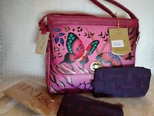 Anuschka Hand-Painted Leather Shoulder Bag w/ Pouch & Optical, Animal Butterfly