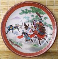 JAPANESE CERAMIC Large PLATE SHOGUN Decorative Dish Samurai Battle