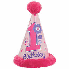 Deluxe Sweet Pink Butterfly Girl's Happy 1st Birthday Party Furry Cone Hat