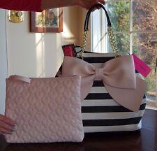NWT Betsey Johnson Bag in a Bag Striped Trap Tote Blush Pink Bow Black Bone