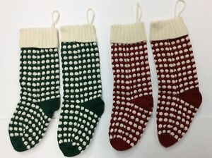 Christmas Stockings 4 Pack 18 inches Cable Knit Knitted Holiday Decor Red Green