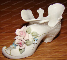 Lefton China (1204) Handpainted (Porcelain) Victorian Ankle Boot, Rose