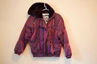 Vintage 80s 90s Womens NILS Ski Jacket Purple puffy bomber irredesent metallic