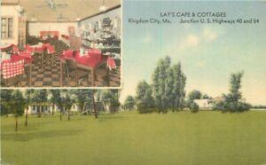 Lay's Cafe Cottages Kingdom City Missouri roadside MWM linen 1942 Postcard 7691
