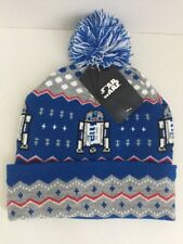 New Star Wars R2-D2 UNISEX Pom Beanie Blue Grey Red White One Size Fits Most