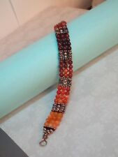 "Beautiful Hand Crafted Amber? Bead & Sterling Silver 925 Beaded Bracelet 7"" Inch"