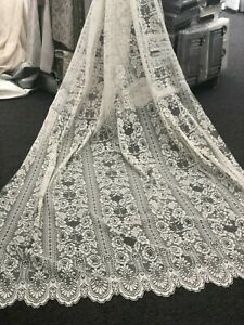 Beautiful ROSALEA Lace -213 cm Drop -Roses -White-CURTAIN Fabric High Quality