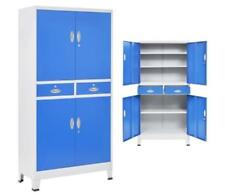 Tall Office Cabinet Adjustable Filing Shelves Metal Drawers Lockable Keys Blue