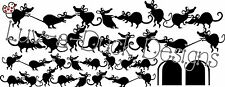 House Mice – Fun Skirting Board Stickers Mouse Wall Art Vinyl Cat Light Blue Fat-cat