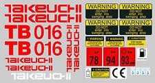 TAKEUCHI TB016 MINI AUFKLEBER BAGGER KOMPLETTSET MIT SICHERHEIT-WARNZEICHEN