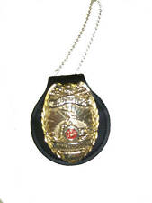 Police Universal Round Neck Badge Holder W/ Belt Clip On Design Plus Chain