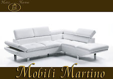 Divano angolare moderno in ecopelle bianco, angolo salotto soggiorno relax sofà