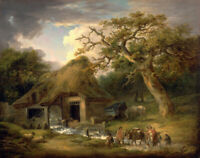 The Old Water Mill George Morland Fine Art Print on Canvas HQ Giclee SMall 8x10
