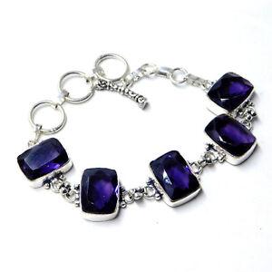 Amethyst Quartz 925 Sterling Silver Plated Handmade Jewelry Bracelet 24 Gm-BB103