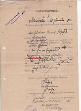 Certificato di nascita 1886 1920 großsabin Virchow kleinsabin Pomerania timbro documento