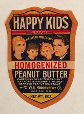 Vintage 1930s Happy Kids Peanut Butter Label Roddenbery Bros. Cairo, Georgia