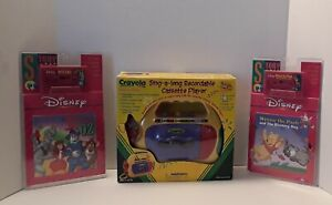 1998 Crayola Cassette Player + 2 Read-Along Books & Tape Wizard of Oz & Pooh New