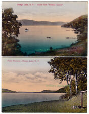 2 - OTSEGO LAKE Cooperstown NEW YORK 1910 POSTCARDS Hickory Grove POINT FLORENCE