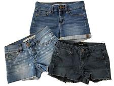 EUC Lot of 3 Size 8 JOE's Jeans Girls Denim Shorts Raw Hem Stars Cuff Blue Black
