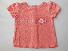PRETTY BABY GIRL TOP W LACE OVERLAY SIZE 0 FITS 6-12M *NEW