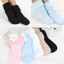 Lovely Socks Women Ladies Lace Vintage Ruffle Sweet Frilly Cute