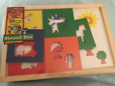 Melissa & Doug Stencil Box Set Wooden Storage Tray Colored Pencils