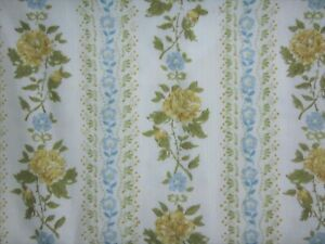 Yellow Roses Wallpaper Print Cotton Canvas Fabric Vintage 106 x 74 Almost 3 Yds