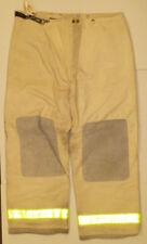 42x30 Pants Firefighter Turnout Bunker White Beige Fire Gear w/ Liner Globe p816